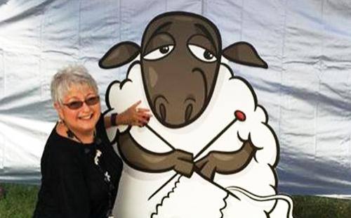 Photo of Nancy O with Knitting Lamb